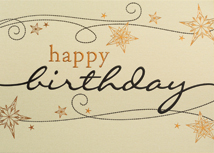 Gold Linen Wishes Happy Birthday Cards